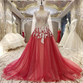 Real Photo Appliques Pearls Evening Dress Long Sleeve Party Dress Red Lace Prom Dresses Party Gown High Quality Robe De Soiree