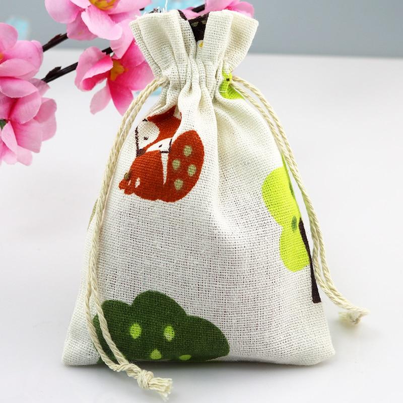 ᗔ10*14 cm 50 unids zorro patrón algodón Bolsas caramelo regalo ...