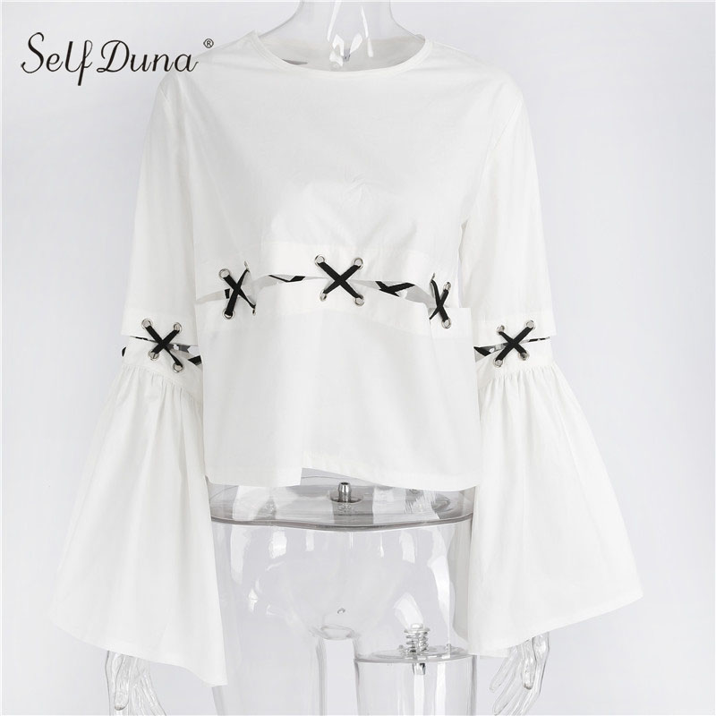 Self Duna 2017 Summer Women White Blouse Elegant Lace Up Sexy Long Sleeve Top Female Blouse Shirt
