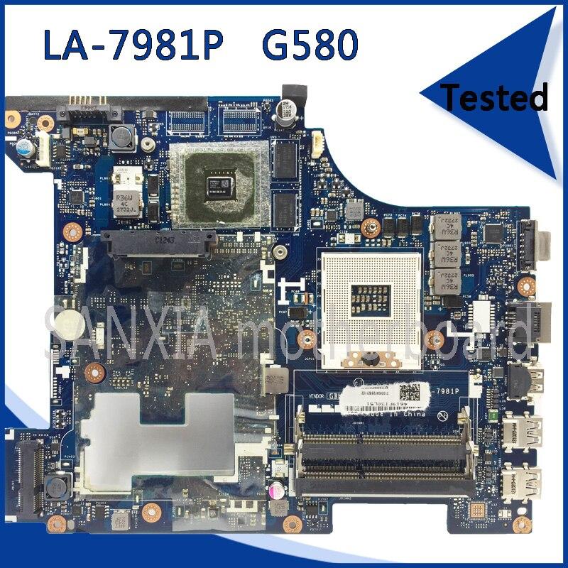все цены на SHELI original QIWG5_G6_G9 LA-7981P laptop motherboard for Lenovo G580 laptop Motherboard tested mainboard HM76 100% work онлайн