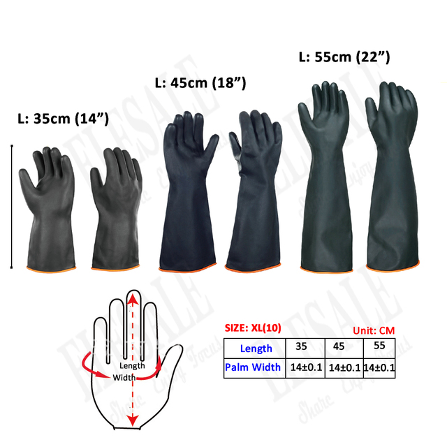 """1 זוג 14 """" 22"""" כימי עמיד כפפות כבד החובה לטקס כפפות חומצה אלקלי ושמן עמיד תעשייה עבודת כפפות XL גודל"""