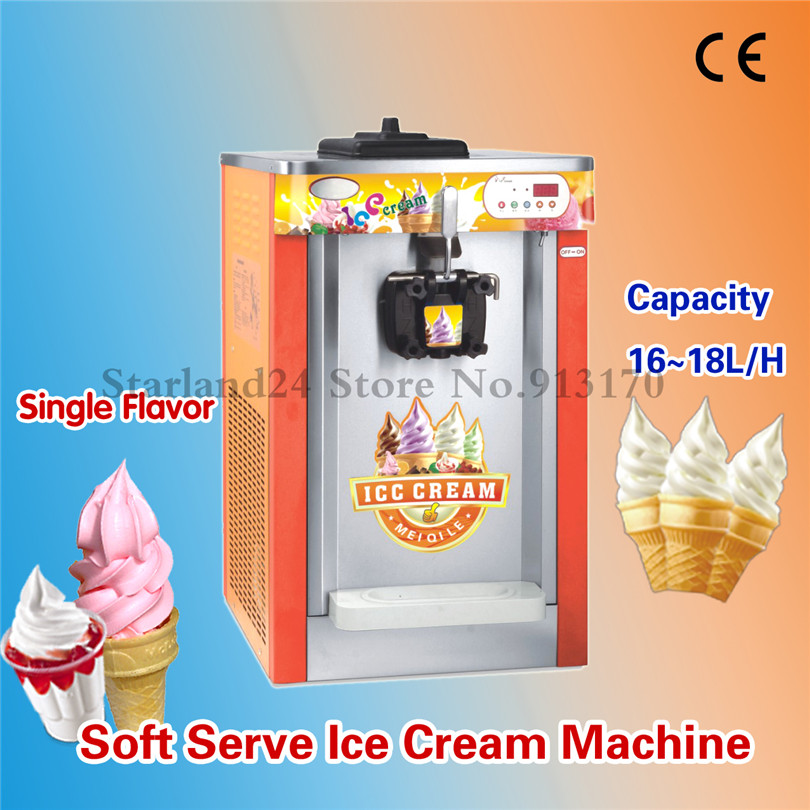 One Head Ice Cream Machine Desktop Soft Serve Machine Frozen Yogurt Ice Cream Maker LED Display