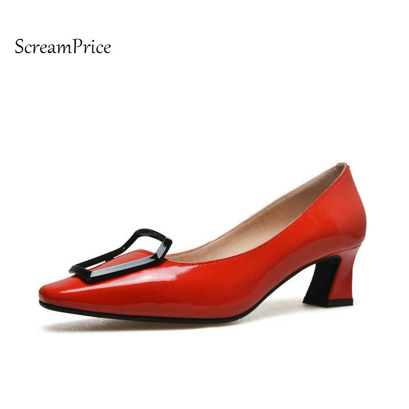 Genuine Leather Comfort Hoof Heel Woman Lazy Pumps Fashion Square Toe Shallow Dress High Heel Shoes Woman Black Red Yellow woman comfort sqaure heel fur genuine leather pumps fashion pointed toe dress lazy high heel shoes woman black wine red
