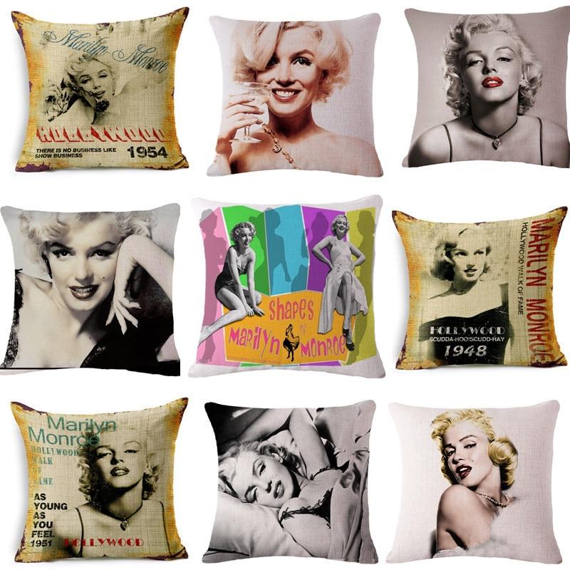 Famous Beauty Movie Super Star Marilyn Monroe Cotton Linen Cushion Square Throw Pillowcase Home Decor Art 45x45cm
