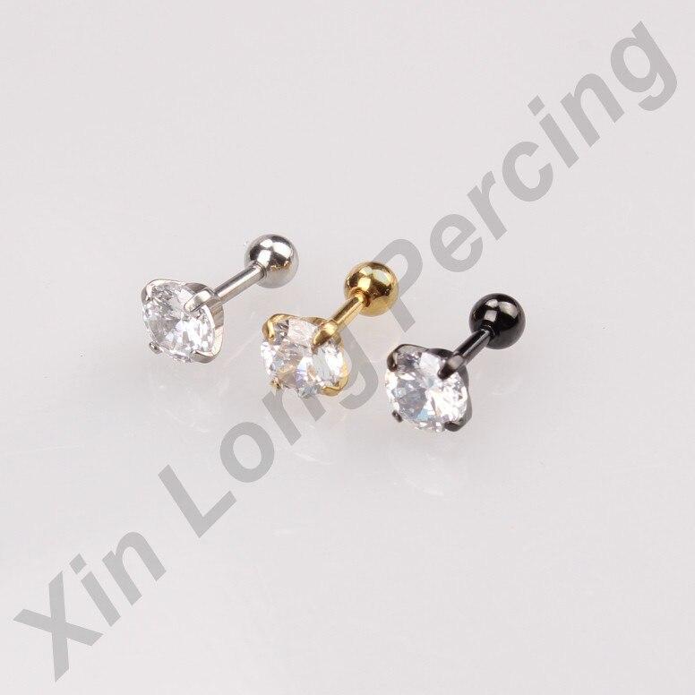 12pcs/lot CZ Ear Cartilage Body Piercing Jewelry Tragus Helix Stud Ring Earring Barbell