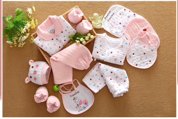 Image 4 - 18 piece newborn baby girl clothes winter 100% cotton infant suit baby boy clothes set outfits pants baby clothing hat bib roparopa de bebenewborn baby setbaby set -