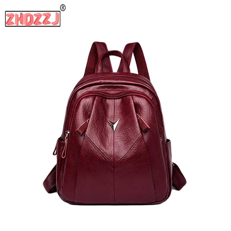 2019 Fashion Women Backpack High Quality Youth Leather Backpack For Teenage Girls Female School Shoulder Bag Bagpack Mochila