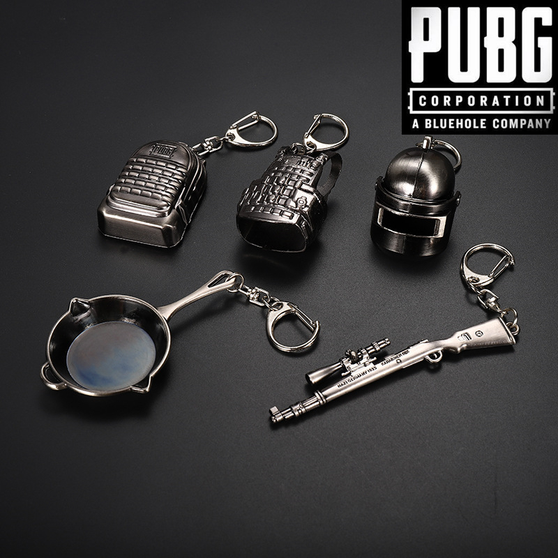 Game Playerunknown's Battlegrounds PUBG Cosplay Props Level 3 Helmet knapsack Saucepan Weapons Armor Keychain Metal Key ring