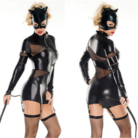 Black sexy Patent Leather Cat Women's Halloween Stage Costume European And American Halloween COS Anime Costum Solid color H