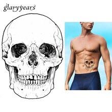 1pc Fake Black Waterproof Tattoo KM-095 Skull Bone Head Decal Design Women Men Body Art Temporary Tattoo Sticker Halloween Gifts