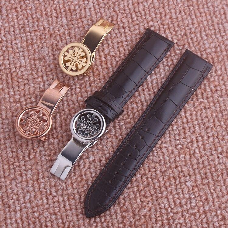 Watch accessories black genuine leather watchband watch belt strap wristwatches band for Patek 20mm 22mm   Fotoflaco.net
