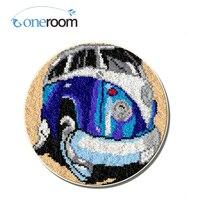 Oneroom ZD456 Cartoon Bus  Hook Rug Kit DIY Unfinished Crocheting Yarn Mat Latch Hook Rug Kit Floor
