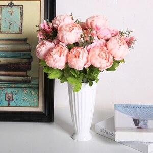 Image 4 - Flores artificiales Luyue, guirnalda de peonías Estilo Vintage europeo para boda, flores artificiales de seda, 13 ramas para decoración de fiesta en casa