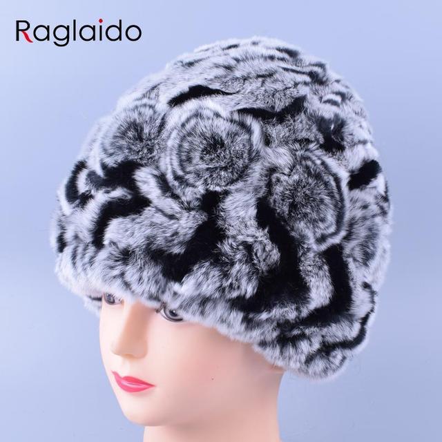 Acessórios De Pele Real das Mulheres florais Hats & Caps Inverno Genuíno Rex Coelho Chapéus Skullies & Gorros de Lã Interior cor Da Mistura LQ11166