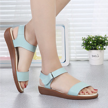 SexeMara Women Sandals Magic buckle Summer Beach sandals Genuine Leather Flip Flat Platform Bare feet Pink ladies Shoes