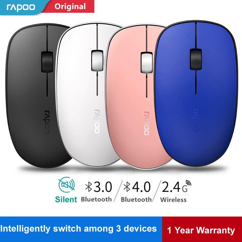 Rapoo M200 Multi-mode Slim Silent Wireless Mouse Bluetooth 3.0/4.0 & 2.4G Switch Between 3 Devices Connection for Mac Windows PC mouse