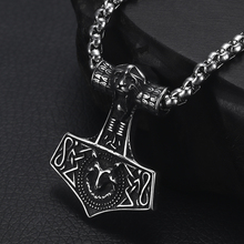 Vintage Viking Hammer Pendant Necklace for Men 316L Stainless Steel Jewelry Mens Long Chain Necklaces Jewellery Mjolnir Gift