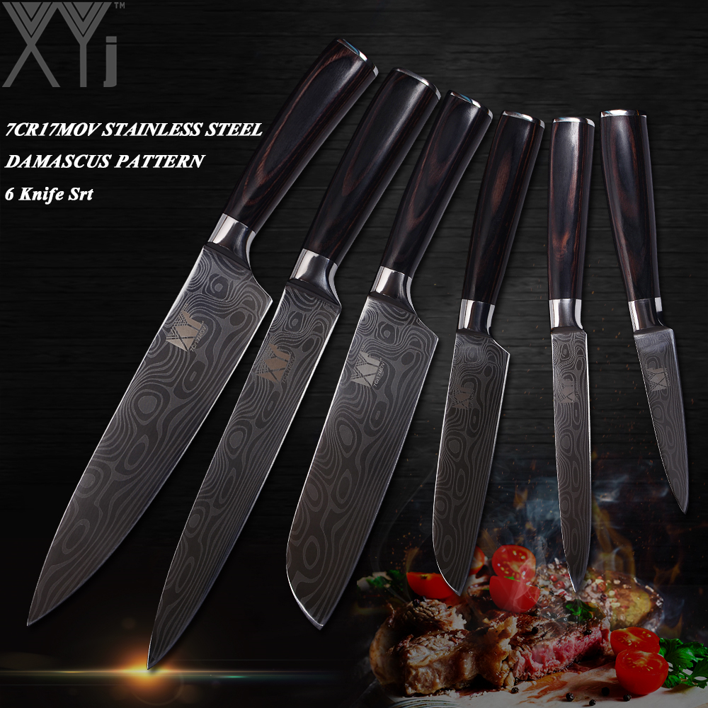 XYj 7Cr17 Double Steel Head Stainless Steel Kitchen Knives 6 PCS Set Fruit Vegetable Meat Cooking Knife Exquisite Kitchenware