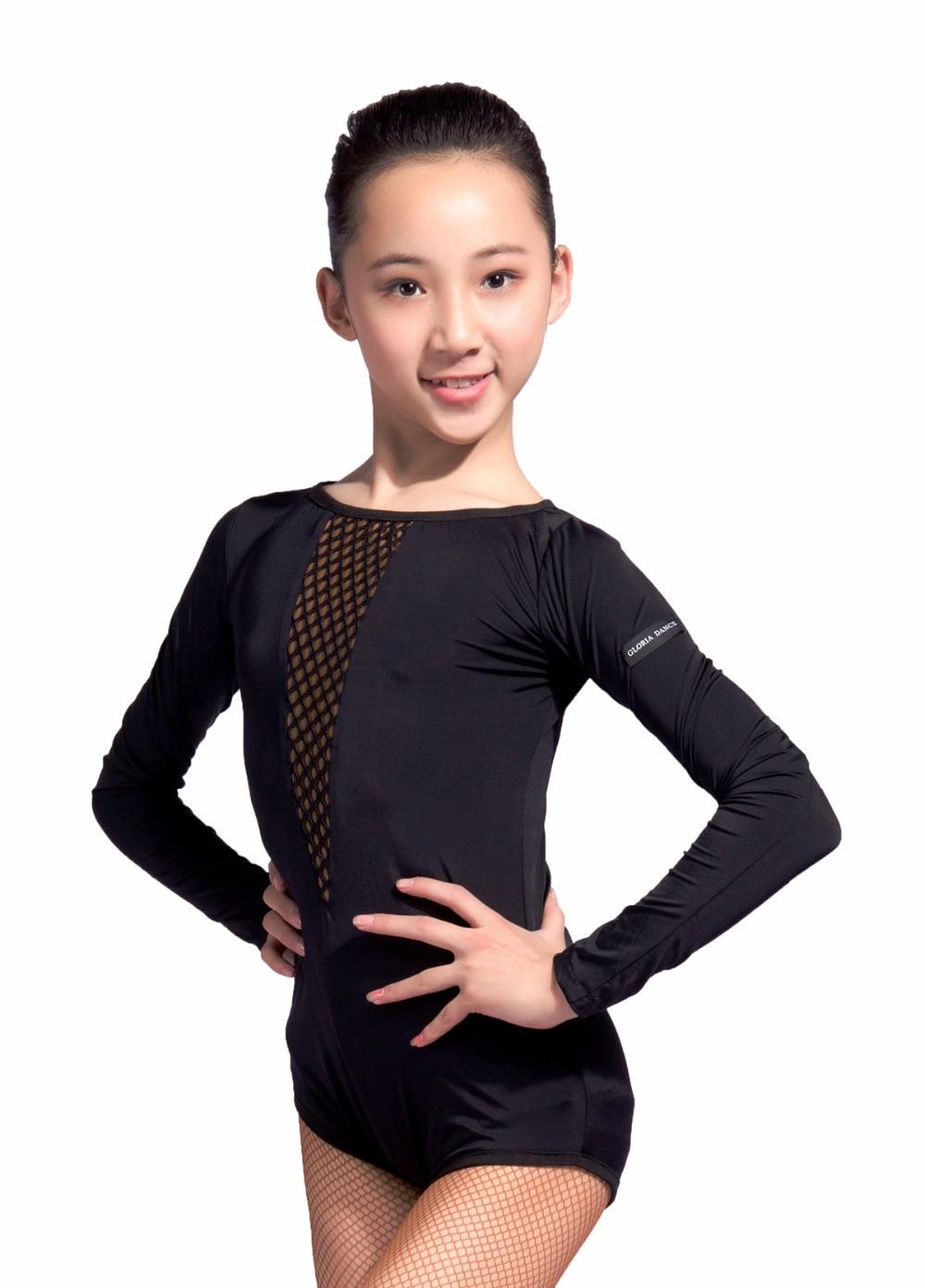 GD1021  Kid Latin Modern  Ballroom  Party Dance Professional  V Modelling Mesh Stitching Design Leotard  For Girl