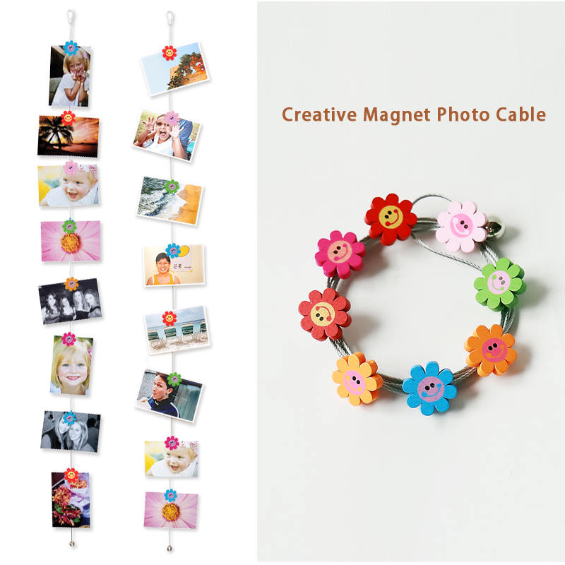 2pcs 3M Hanging Photo Rope Silver Magnetic Cable Photo Or Card Holder With  16 cartoon wooden Heronsbill Image Magnet-in Frame from Home & Garden on ...