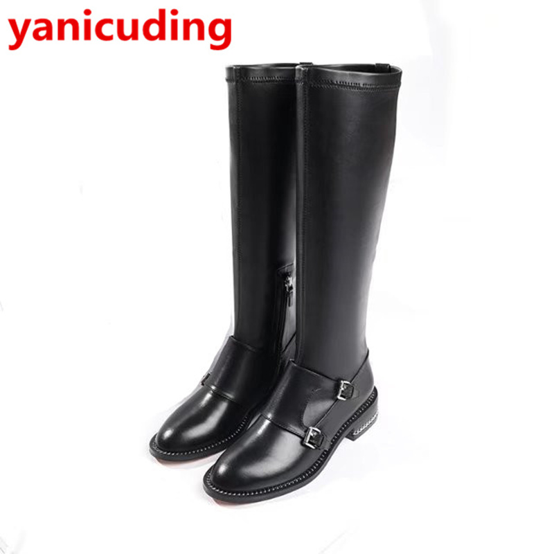 Round Toe Black Color Zipper Design Long Booties Belt Buckle Shoes Low Heel Women Boots Chain Decor Brand Super Star Runway Shoe round toe women boots mixed color short booties luxury brand women cool runway fashion star high heel boots buckle shoes botas