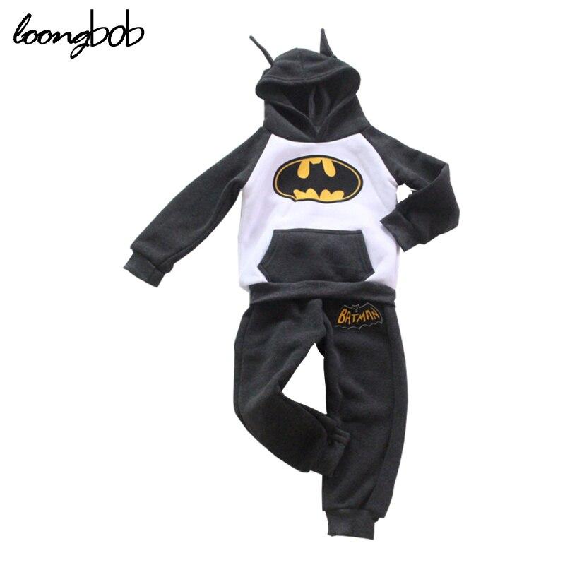 Batman Design Baby Clothing Set Kids Boys Girls Long Sleeve Sportswear Bebe 2 Pcs Hoodies Sweater Tops and Pants Sports Suit