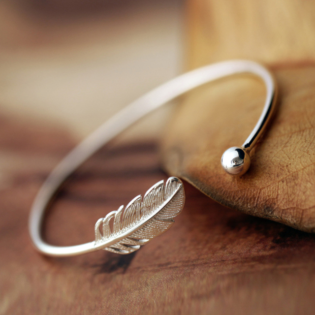 Simple Design Real Pure 925 Sterling Silver Jewlery Wedding Bangle Bracelet Leaf Feather Cuff Bangles For Women
