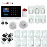 SmartYIBA APP Control WIFI GSM Alarm System With Metal Remotes Fire/Smoke Sensor Motion Detection Alarma Strobe Siren Alarm Kits