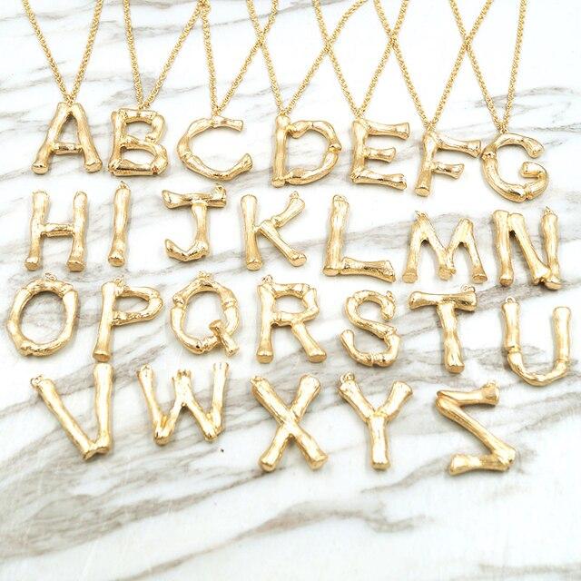 F. j4Z 2018 Vendita Calda Grandi Lettere Collana Pendenti con gemme e perle Per Le Donne D'oro A-Z 26 Iniziale Del Collare Dei Monili Regalo Alfabeto Collana Bijoux