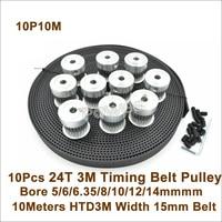 POWGE 10pcs 24 Teeth 3M Timing Pulley Bore 5/6/6.35/8/10/12/14mm + 10meters HTD3M Belt W=15mm 24T 24Teh 3M Timing Belt Pulley