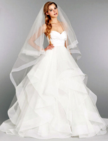 2014 New White Or Ivory Sexy A Line Taffeta Organza Wedding Dress Bridal Gown Custom Made