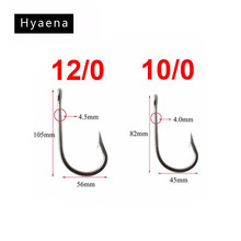 Free Shipping 10PCS Stainless Steel Shark Fishing Hook Rigs 2 Arms 400lb Wire Leaders Big Hook Rig Size 10/0 12/0