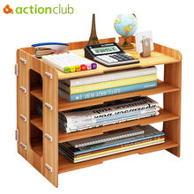 Actionclub Minimalist Desktop Finishing Shelves Data File Storage Box Magazine Books Organizer Rack Holder Office Bookshelf(China)