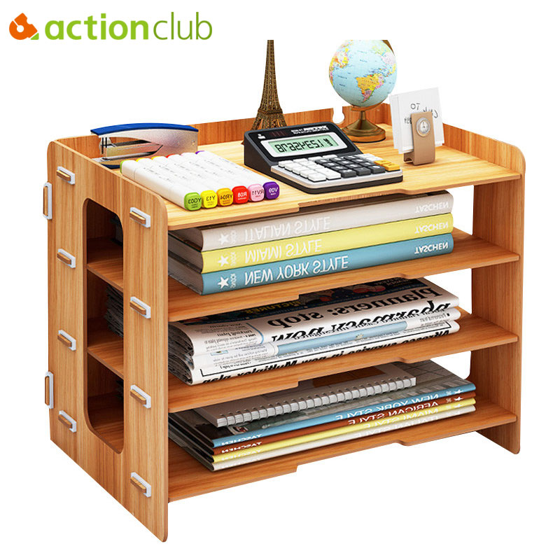 Actionclub Minimalist Desktop Finishing Shelves Data File Storage Box Magazine Books Organizer Rack Holder Office Bookshelf ...