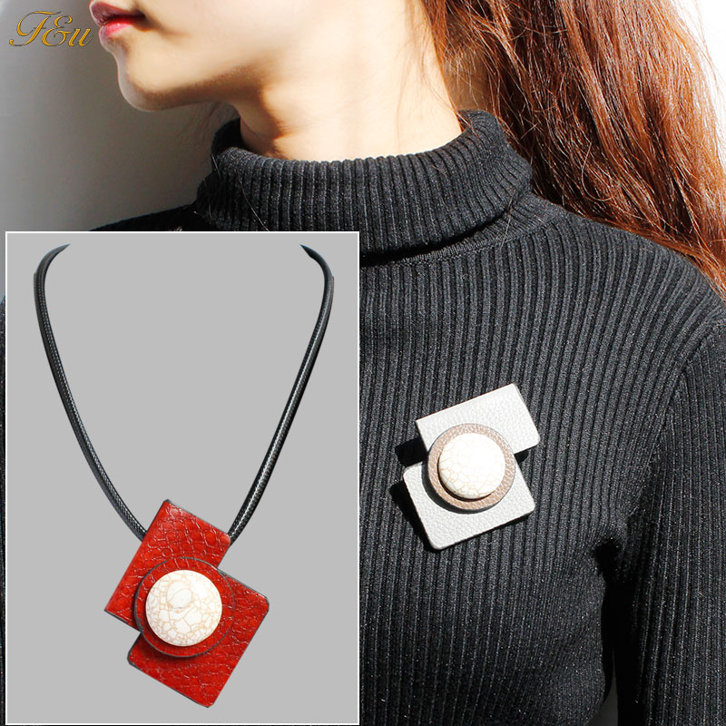 F&u Different Colors Pu Leather Geometry With Stone Elegant Women Black Leather Pendant Necklace Moderate Price