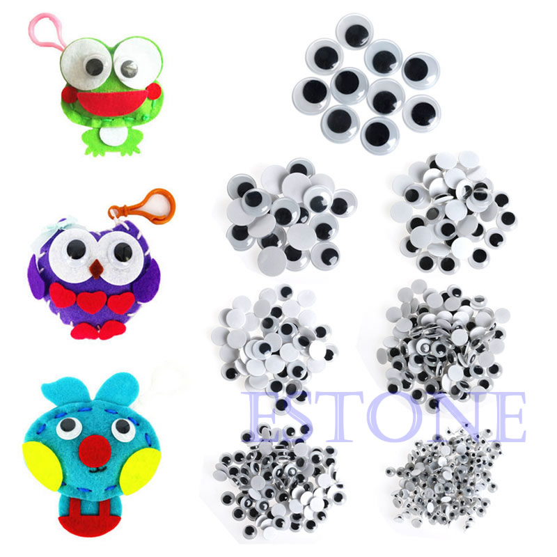 520PCS 6-20mm Wiggly Wobbly Googly Eyes Self-adhesive Scrapbooking Crafts Mixed цена