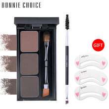 BONNIE CHOICE Eyebrow Enhancer Powder Natural 3 Colors Waterproof Pallete Brush Long Lasting Makeup Eye Brow
