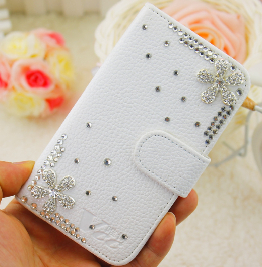 Five Petals Shine Bling Rhinestone Flowers White Embossed PU Leather Case Cover for iPhone 5 6 7 for Samsung Phone Case