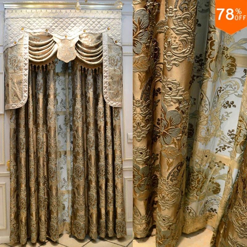 rideau de fenetre pour magasin rideaux de style romain ancien broderie de luxe ensemble de fenetre doree royale en fleurs 3d