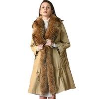 Зимние Щука пальто Для женщин 2019 высокое качество меха кролика рекса топ лайнер енотовидная собака меховым воротником теплая плотная куртк