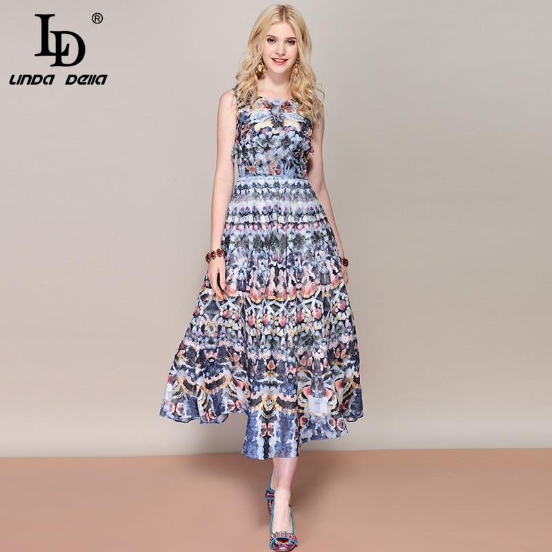 Ld linda della 패션 활주로 여름 드레스 여성 민소매 라인 꽃 프린트 꽃 아플리케 미디 에스닉 빈티지 드레스-에서드레스부터 여성 의류 의  그룹 1