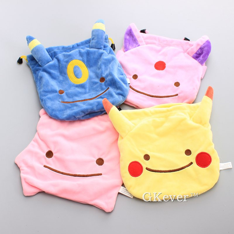 4 Styles Ditto Cosplay Pikachu Espeon Umbreon Plush Coin Bag Multifunctional Drawstring Pouch 20*20 Cm Kids Gift