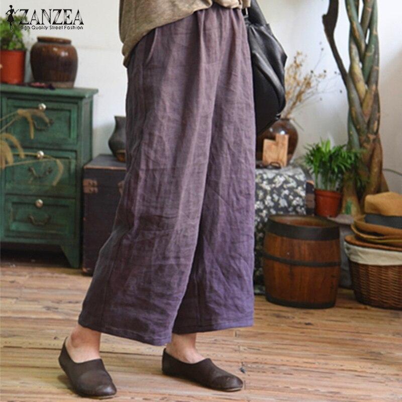 S 5XL ZANZEA 2019 Summer   Pants   Women Vintage Solid Elastic Waist Trousers Casual   Wide     Leg     Pants   Baggy Pantalon Femme Sweatpants