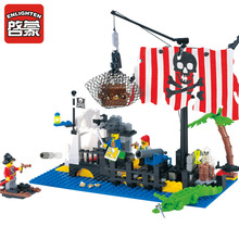 ENLIGHTEN 238Pcs Pirate Series Bricks Pirate Ship Command Center Model Building Blocks Set Minifigures Toy Compatible With Legoe