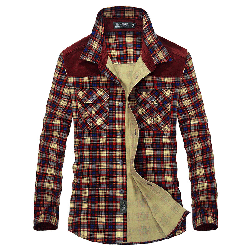 2018 automne hommes Plaid robe chemises décontractées de haute qualité coton Cargo Style militaire chemise hommes droite à manches longues de haute qualité