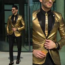남자를위한 새로운 빛나는 TPSAADE 골드 웨딩 정장 턱시도 저렴한 슬림 맞는 신부 착용 최고의 남성 정장 맞춤 제작 (자켓 + 바지)