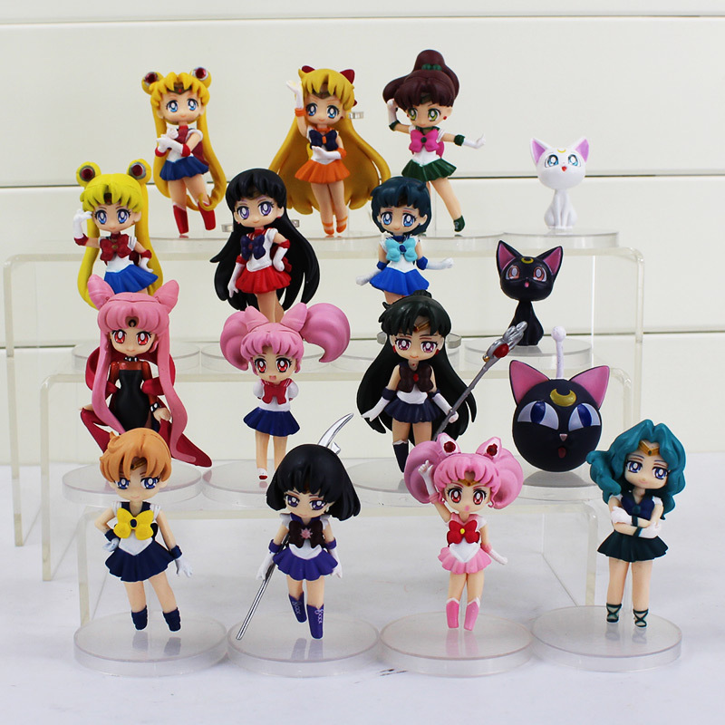 16pcs/set Anime Sailor Moon Figures Tsukino Usagi Sailor Moon Mars Jupiter Venus Mercury PVC Action Figure Model Toys With Box sailor moon capsule communication instrument machine accessory gashapon figure anime toy full set 100