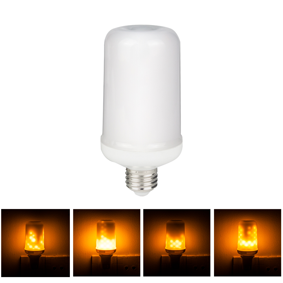 Dynamic Flame Effect LED Bulb 110V 220V E27 Corn light Simulation Fire Burning Flicker Replace Gas Lantern Decoration Lamps lan mu 220v flame fire light led bulb