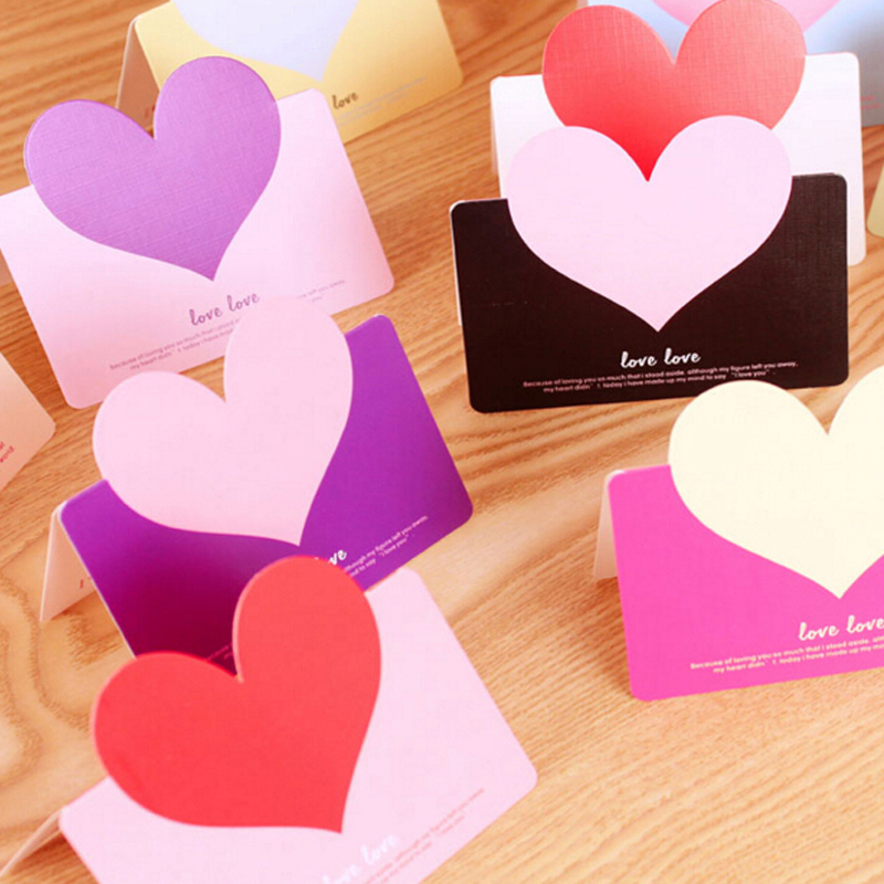 30pcs Heart Shape Birthday Greeting Cards With Envelope Creative Cards Blessings  Wedding Greeting Card Stationery Papelaria
