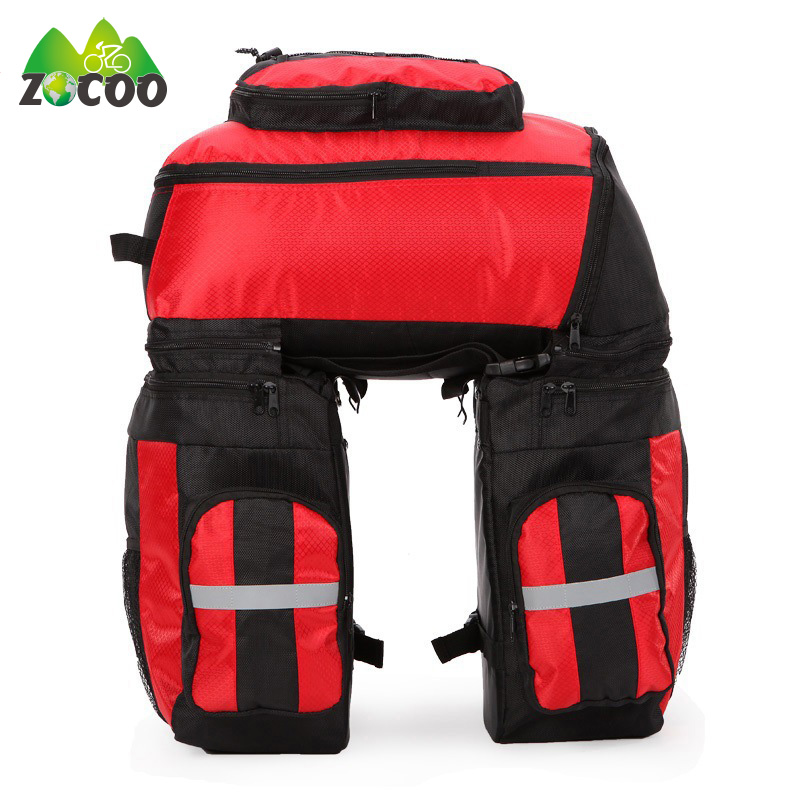 Zocoo Waterproof Large Capacity  Mountain Road Bicycle Bike Bag Cycling Double Side Rear Rack Tail Seat Trunk Bag Pannier roswheel 50l bicycle waterproof bag retro canvas bike carrier bag cycling double side rear rack tail seat trunk pannier two bags